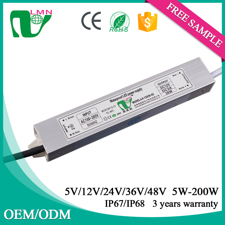 12V 36W waterproof constant voltage ip67 strips light led driver