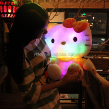 Light up spinning toy led light cartoon cat toy plush cute cat toys