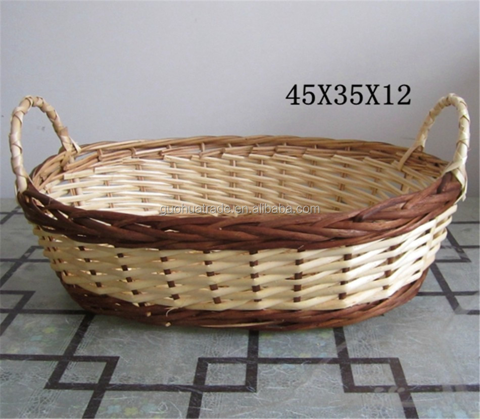 WHOLESALE Willow Wicker Flower Fruit Bread Basket Bowl Serving Tray with ear wooden handles