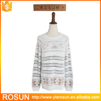 Computer knitting stripe pattern front short back long hairy crew neck tunic sweaters
