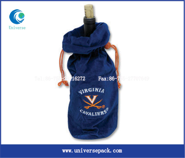 High end velvet fabric decorative wine gift bags with drawstring