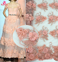 2016 Fancy Bridal Lace Fabrics with embroidery on mesh lace Heavy Hand Beaded French Tulle Lace fabric for party dress