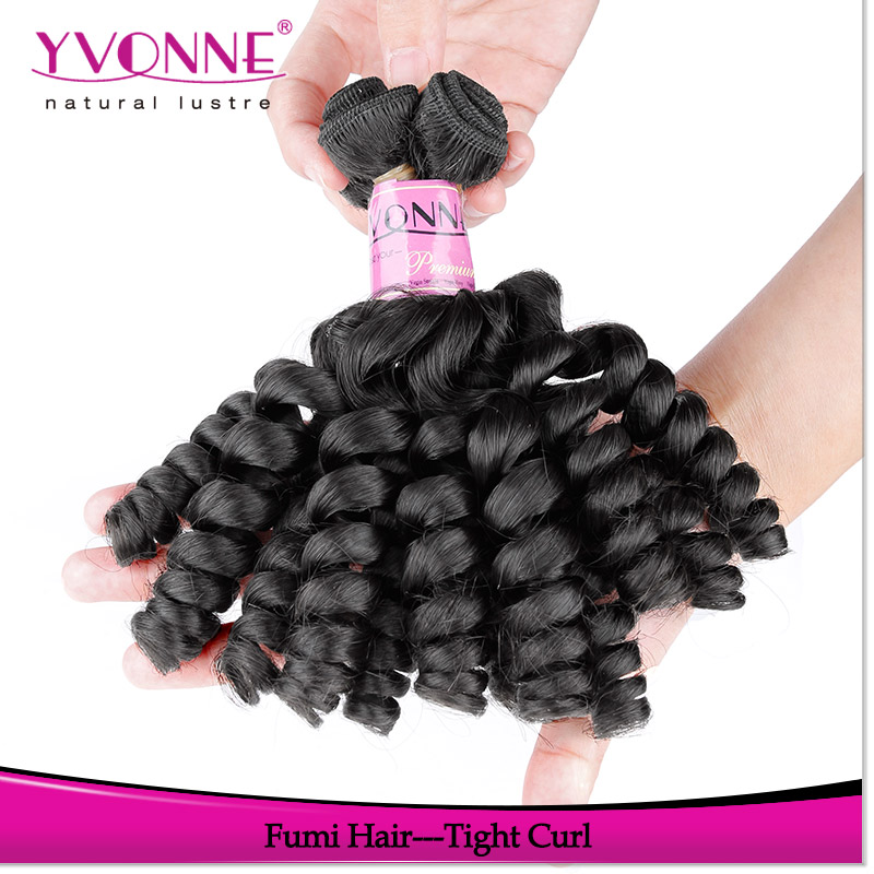 2016 Yvonne aliexpress best brazilian human hair fumi hair tight curly afro hair extensions with gift synthetic eyelashes