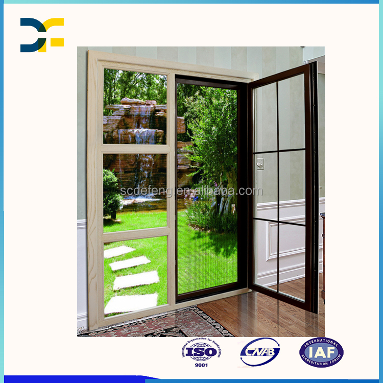 Home Entrance White Grille Wood Aluminum Casement Door