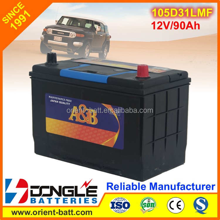 JIS Standard Maintenance Free 105d31l Calcium Car Battery 12V 90Ah