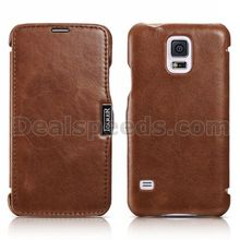 Vintage Series Side-Ppen Leather Icarer Case for Samsung Galaxy S5 I9600 (Brown)