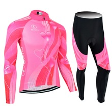 BXIO Por Team Bike Jerseys Pant No Bibs Fluo Pink Cycling Jerseys Mujer Ropa Ciclismo MTB Spring Bicycle Clothing BX-0109FP123NB