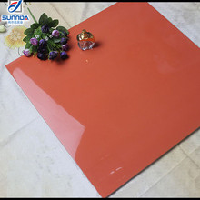 Professional factory good quality nano mirror polished pure red colour glossy vitrified porcelain floor tiles 600x600