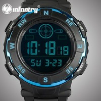 INFANTRY 2015 New Chronograph Black Silicone Strap Men's Sport Watch