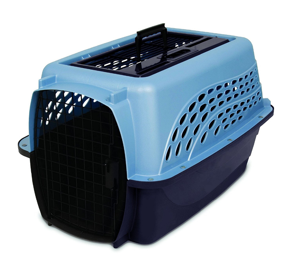 Two Door Top Load Pet Kennel Metallic Pearl Ash Blue and Coffee Ground Bottom Dog Carrier