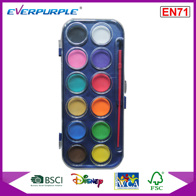 EN71 certification water colorcake,12 colors water color cake,water color cake with brush