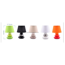 Ceramic pebble table lamp with fabric lampshade modern lighting fixture