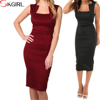Panelled square neck sexy zip back knee length party pencil cocktail dresses for women