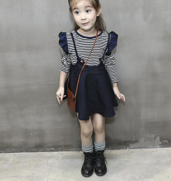 zm31671a kids baby trendy denim overalls stripe shirts european teen girl clothing wholesale