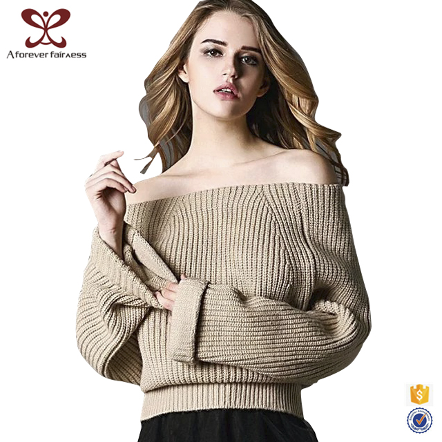 Sexy Wool Women Boat Neck Sweater,Wide Sleeves Shaped Waist Sweater Design For Girl