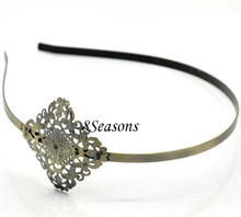 Hair Accessories Antique Bronze Flower Decorated Headbands Thin Metal HairBands