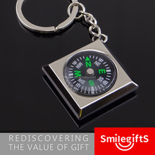 Promotional Laser Engrave Custom Logo Metal Compass Key Ring