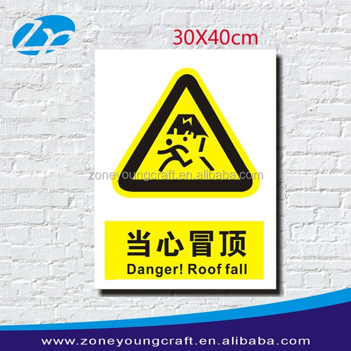 Plastic colored warning roof hazard signs