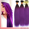 New products 2016 silky straight two toned ombre black purple brazilian weaving hair