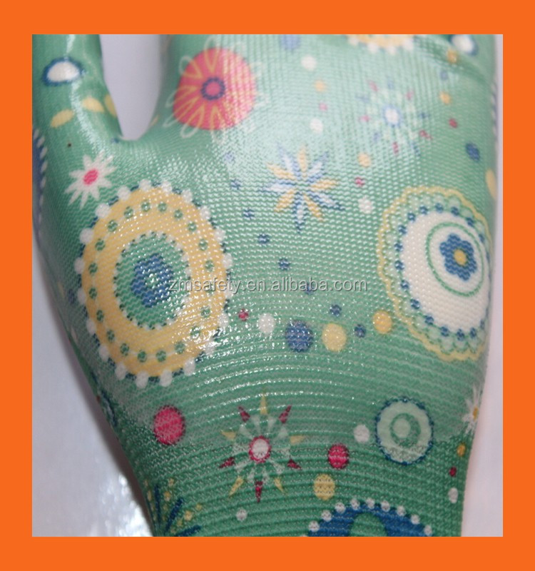 Printed Liner Ladies Garden Gloves Thin Lightweight Nitrile Gloves Flower Nitrile Work Gloves