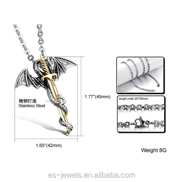 (2)GX937 gold plated stainless steel Dragon Sword pendant for men