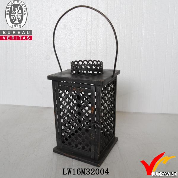 dark village hanging small metal lanterns