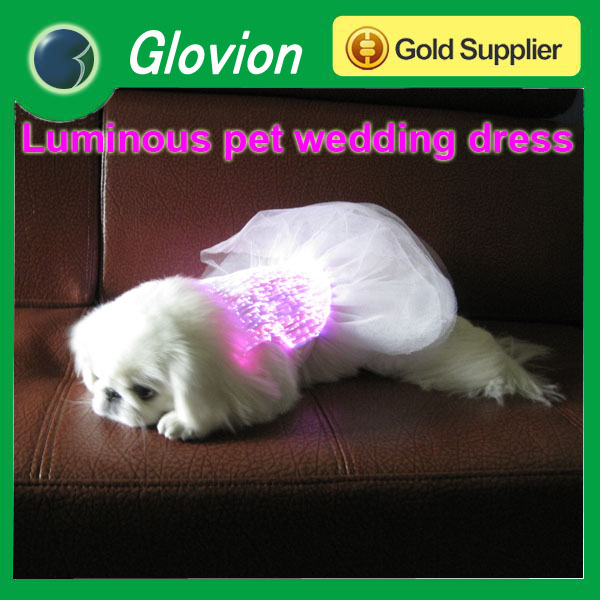 2014 latest luminous pet wedding dress Pet clothes wholesale pet grooming clothes