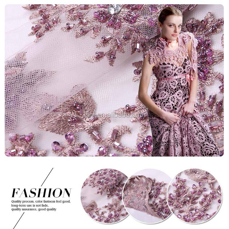 2016 high fashion handwork beaded heavy embroidery designs lace embroidery fabric for haute commission garment