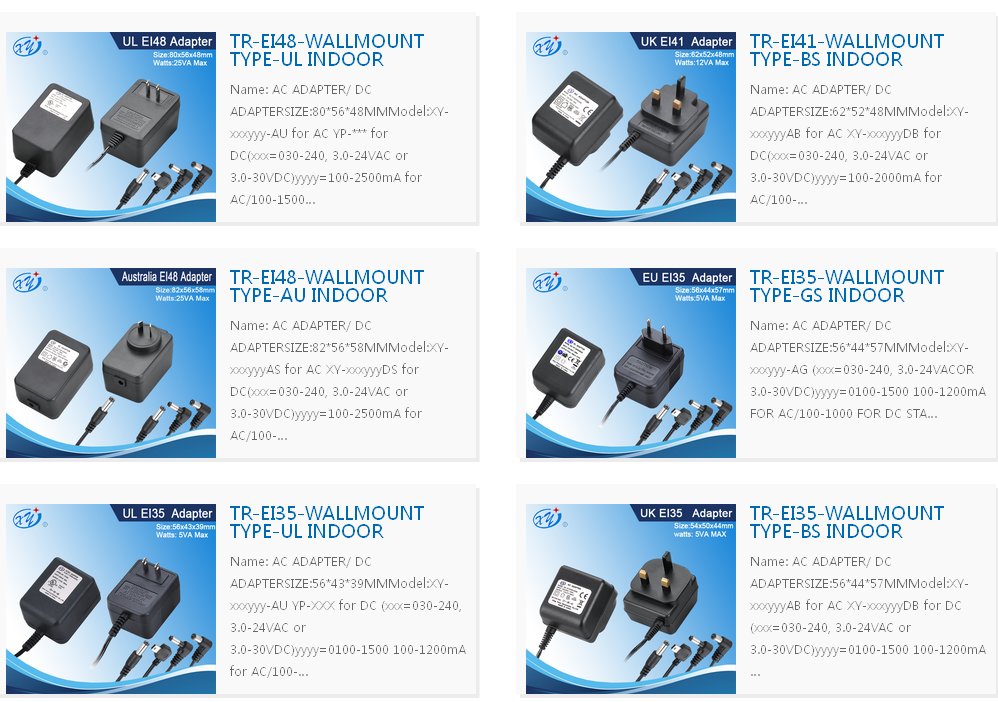 Xing Yuan RoHS UL Approved AC Adapter Class 2 Power Units