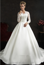 elegant high neck long sleeve lace ball gown saudi arabian wedding dress