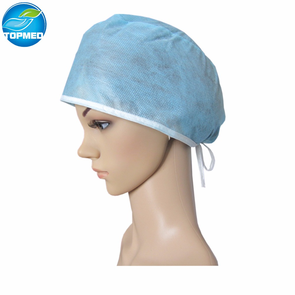 tie-on surgical hats by machine made,disposable surgical hats in SMS material