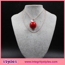 Long chain red cherry charming pendant necklace