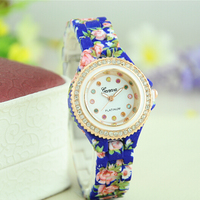 New Wholesale Floral Geneva Watch Diamond Fashion Silicone Watch
