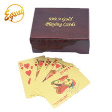With wooden plastic box 999.9 gold playing cards custom printing for promotion