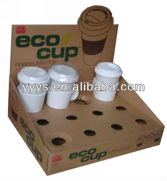 brown cardboard cup display stand