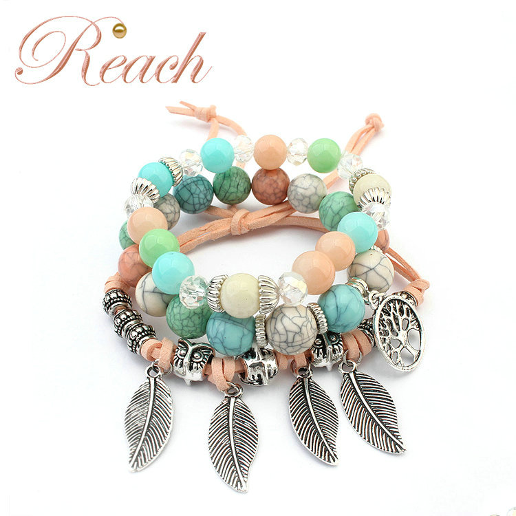 Wholesal Cheap Price Vintage Leaf Shape Glass Bead Charm Bracelet for Girl