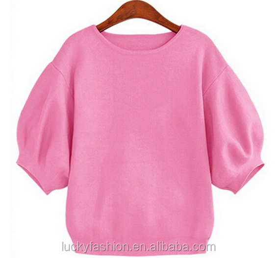 latest design lantern sleeve kintted women pullover sweater