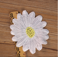 Daisy white yellow center Iron On Embroidered Applique Patch/Flowers