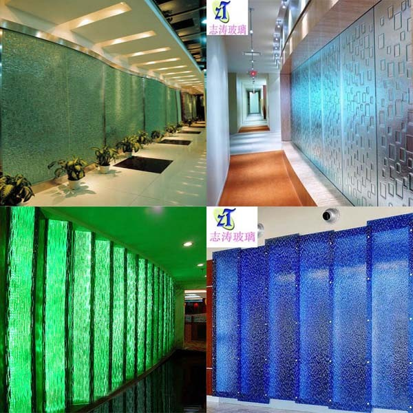 Decorative fused glass for living room partition