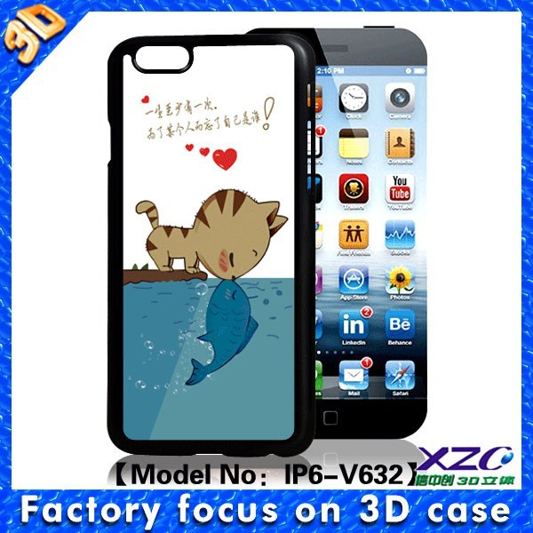 Top skill 3D design phone case for iphone 6, with lenticular image