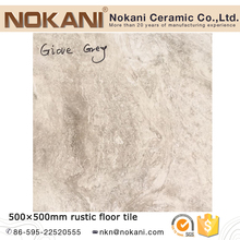 Travertine stone look Spanish rustic floor porcelain tiles with light grey color
