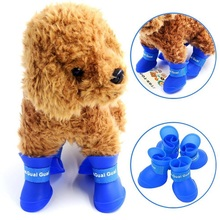 Free sample pet waterproof shoes ourdoor silicone rubber rain dog shoes