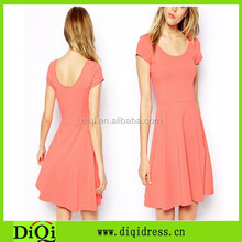 Low round collar 95 cotton 5 spandex skating dress