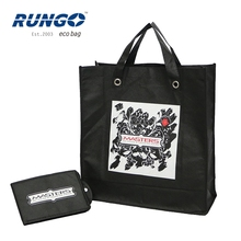 Folding style wholesale custom logo print non woven tote bag folded with bottom