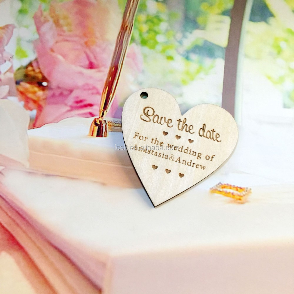 Wooden Heart Shaped Log Slices Crafts with Happily Ever After Pattern for Wedding Party