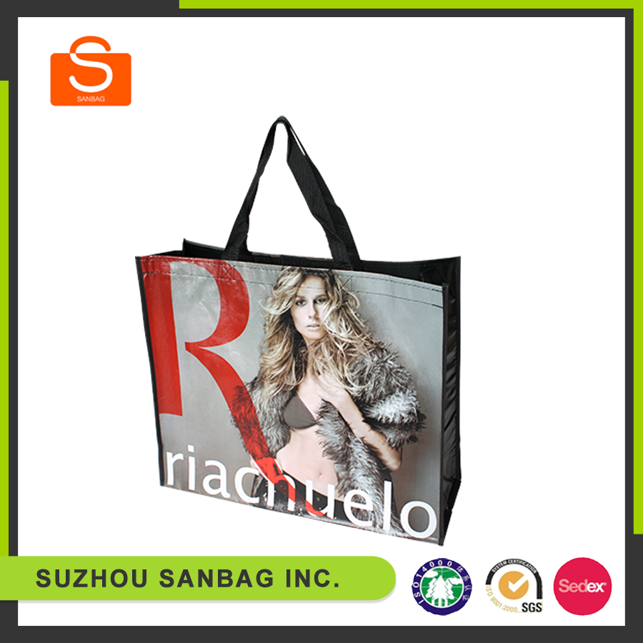 Glossy laminated PP woven foldable shopping bag,foldable non woven bag