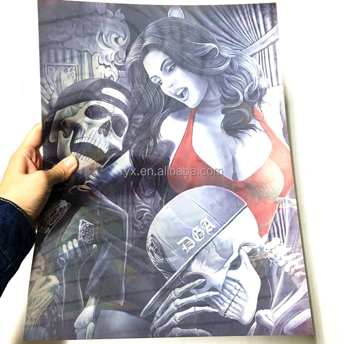 3d hot sexy girl and skull picture