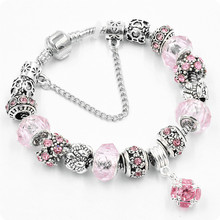 2017 Wholesale New Crystal Heart Beads Bangles DIY Glass Bracelets Cancer Awareness Pink Ribbon Charms Bracelet