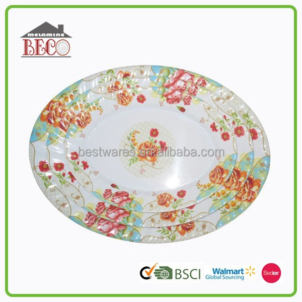 New arrival decorative round plastic custom dinner cake plate