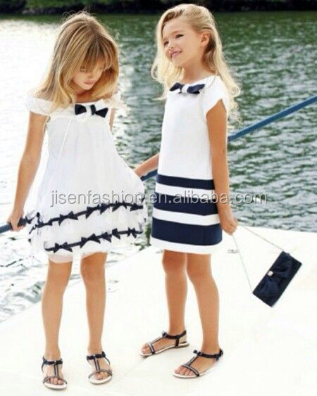 European kids clothes wholesale girls Summer Preppy style children party dress